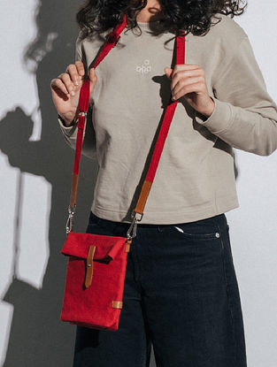 Crimzon Red Canvas Sling Bag