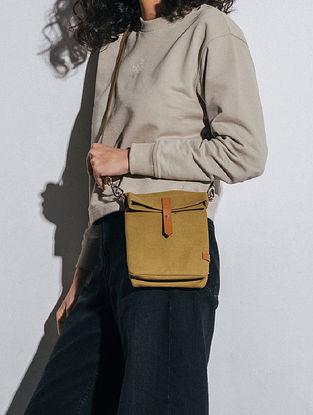 Olive Green Canvas Sling Bag