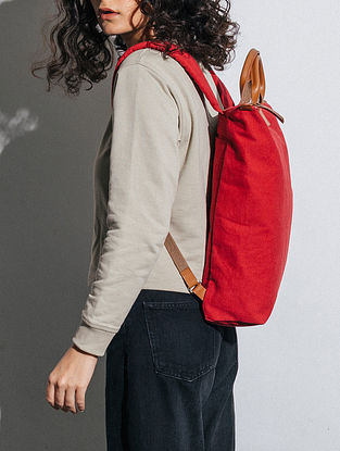 Crimzon Red Canvas Backpack