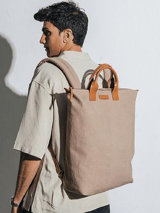 Khaki Beige Canvas Backpack