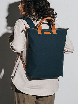 Midnight Blue Canvas Backpack