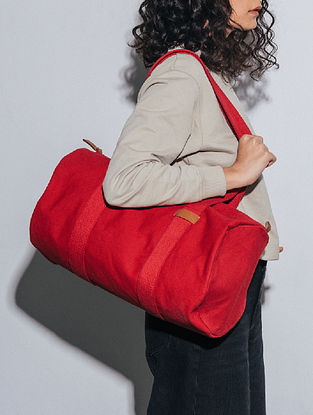 Crimzon Red Canvas Duffle Bag