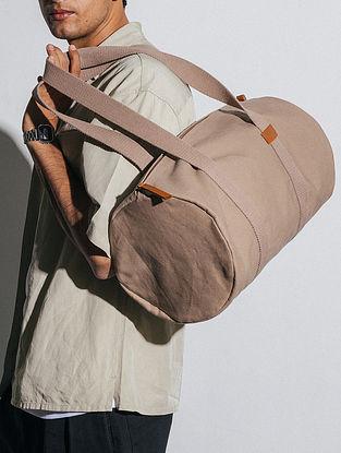 Khaki Beige Canvas Duffle Bag