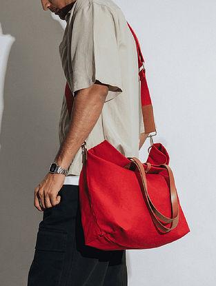 Crimzon Red Canvas Tote Bag