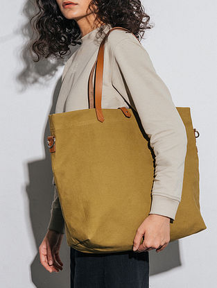 Olive Green Canvas Tote Bag