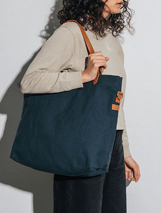 Midnight Blue Canvas Tote Bag