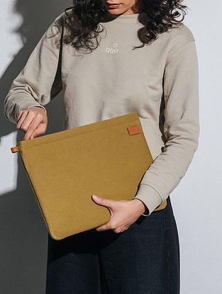 Olive Green Canvas Laptop Sleeve