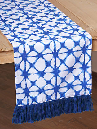 Blue and White Cotton Screen Printed Table Runner (L- 72in, W- 13in)