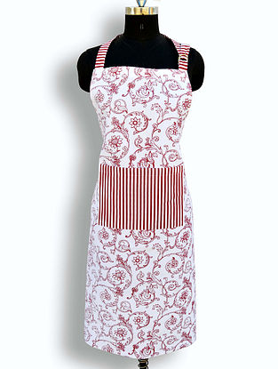 Red and White Cotton Screen Printed Apron (L- 35in, W- 27in)