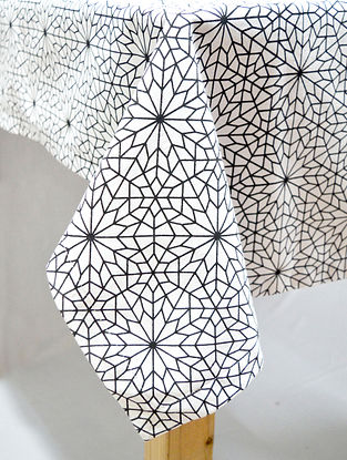 Black and White Cotton Screen Printed Table Cloth