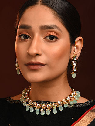 Blue Gold Tone Kundan Necklace And Earrings With Ear chains