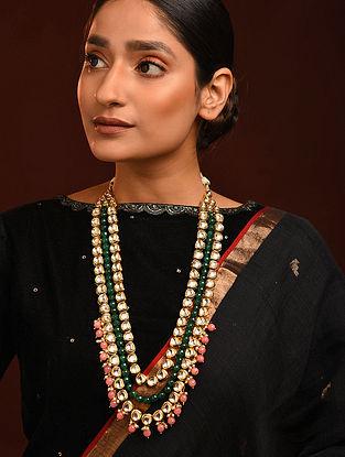 Pink Green Gold Tone Kundan Necklace