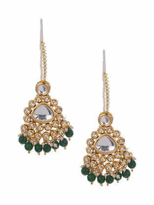 Green Gold Tone Kundan Earrings With Ear chains
