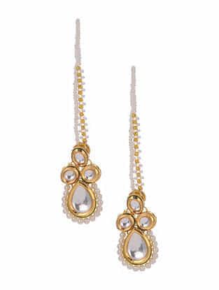 Gold Tone Pearl Beaded Kundan Earrings With Ear chains
