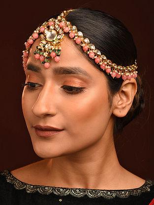Pink Green Gold Tone Kundan Maathapatti