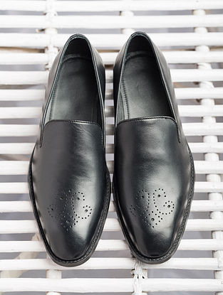 Black Handcrafted Genuine Leather Shoes for Men