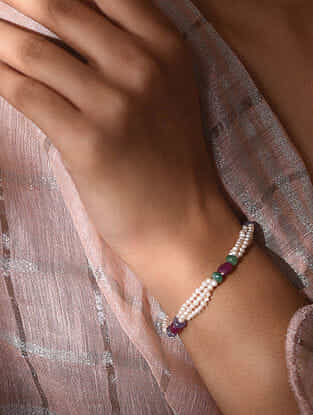 Multicolored Beaded Bracelet With Pearl Ruby Emerald And Tanzanite