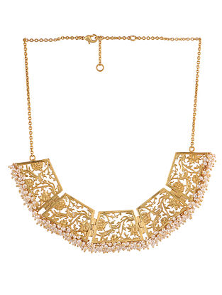 Gold Plated Handcrafted Necklace With Pearls