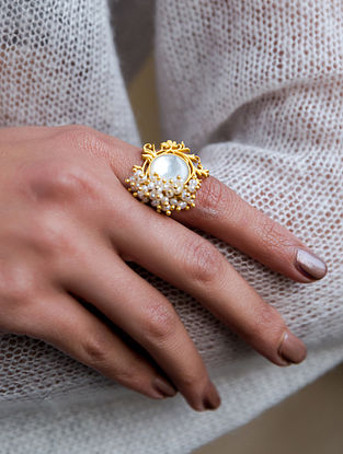 Gold Plated Handcrafted Adjustable Ring With Pearls
