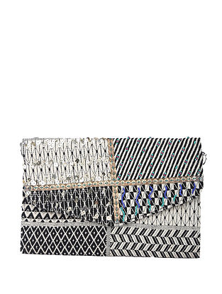 Grey Handcrafted Cotton Clutch