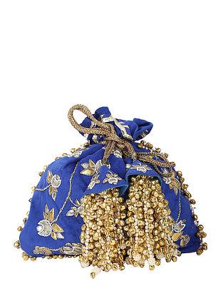 Blue Handcrafted Suede Potli