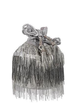 Silver Handcrafted Brocade Silk Potli