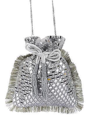Silver Handcrafted Satin Potli