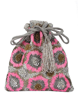 Grey Pink Handcrafted Potli