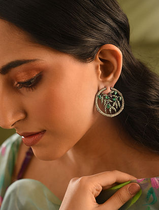 Gold and Diamond Earrings with Ruby and Tsavorite