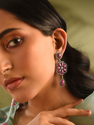 Gold and Diamond Earrings with Ruby and Tanzanite