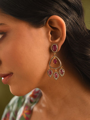 Gold and Diamond Earrings with Ruby and Ruby