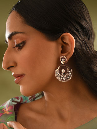 Gold and Diamond Earrings with Pearls