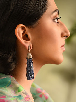 Gold and Diamond Earrings with Sapphire