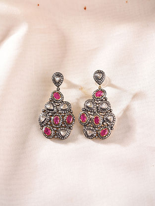 Gold and Diamond Earrings with Ruby