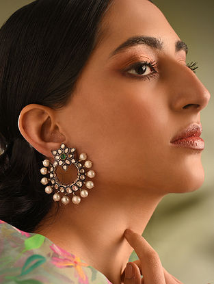 Gold and Diamond Earrings with Emerald and Pearl