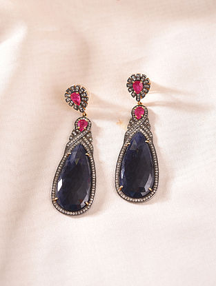 Gold and Diamond Earrings with Ruby and Sapphire
