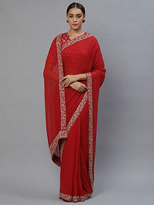 Red Silk Georgette Saree