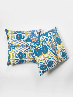 Contrast Living Dhak Cotton Printed Cushion Covers (Set of 2) (20in x 20in)