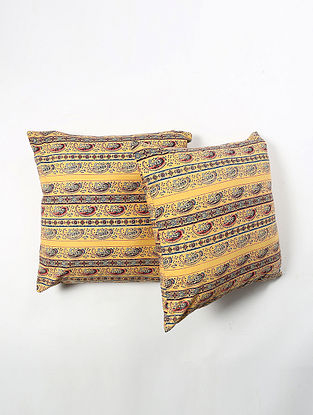Contrast Living Triek Cotton Printed Cushion Covers (Set of 2) (20in x 20in)