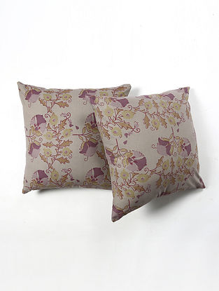 Contrast Living Jorjatie Cotton Printed Cushion Covers (Set of 2) (20in x 20in)