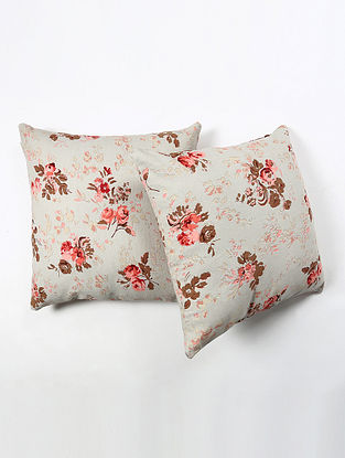 Contrast Living Hiteshik Cotton Printed Cushion Covers (Set of 2) (20in x 20in)