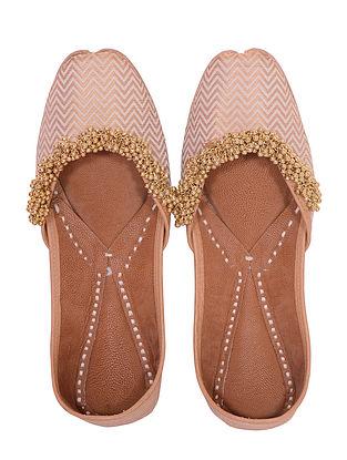 Gold Beige Handcrafted Silk Leather Juttis