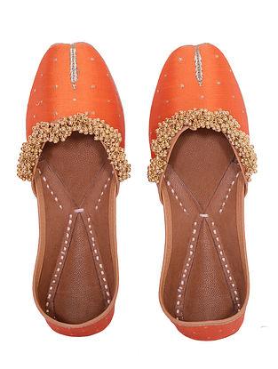 Orange Handcrafted Silk Leather Juttis