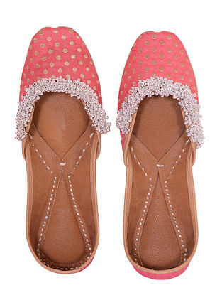 Pink Handcrafted Silk Leather Juttis