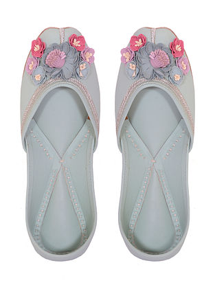 Mint Green Handcrafted Leather Juttis