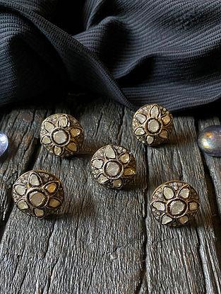 Polki Diamond Silver Kurta Button (Set of 5)