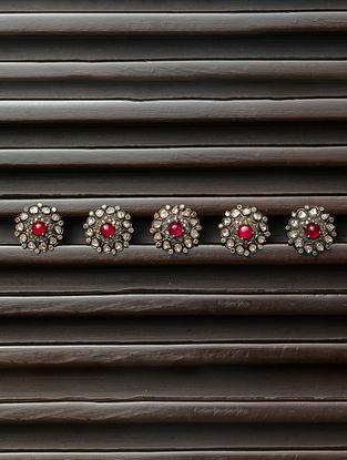 Polki Diamond Silver Kurta Button with Ruby (Set of 5)