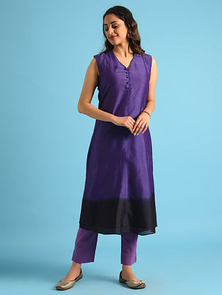 Purple Dip Dyed Chanderi Kurta with Cotton Lining
