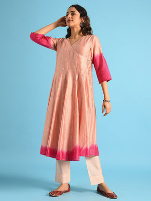 Pink Dip Dyed Chanderi Angarakha with Cotton Lining