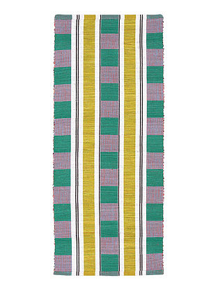 Multicolor Striped Cotton Rectangular Mat (L-47in,W-20in)